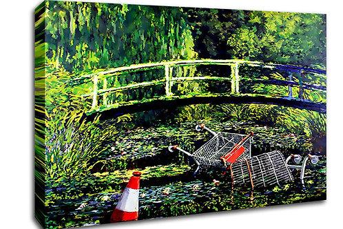 'Banksy Trash River ' Heated Canvas