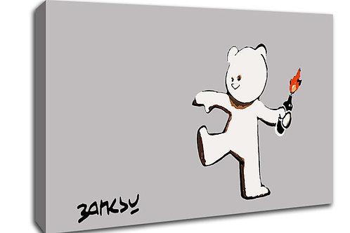 'Banksy firebomb bear' Heated Canvas