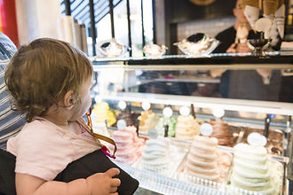 TLV baby looking at ice cream