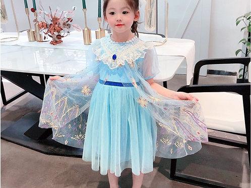 爱莎短袖冰雪奇缘公主裙  Elsa Anna Princess Dresses