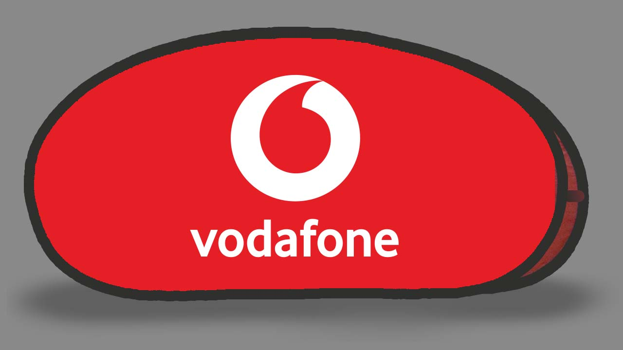 Vodafone Red Tear Drop Banner