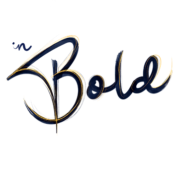 "in Bold graphic design logo. The words ""in Bold""  are written in navy blue expressive brush style lettering, accented with yellow pencil sketch lines."