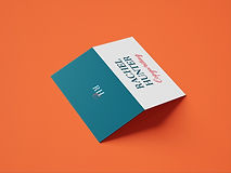 Folding business card design on an orange background. The front of the business card shows the full brand name (Rachel Hunter Copywriting) in teal and hot pink text on a white background and the back shows a simple monogram logo in white and hot pink text on a teal background.