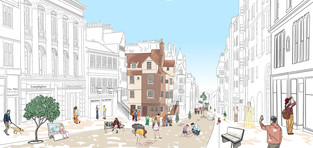 Edinburgh Royal Mile street illustration