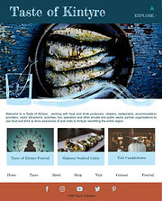 """Design for a tourism website called Taste of Kintyre showing photos and text on teal, blue and burnt orange coloured backgrounds.  The images are of local food and attractions, overlaid with the brand's signature """"fish in a glass"""" and wave illustrations."""