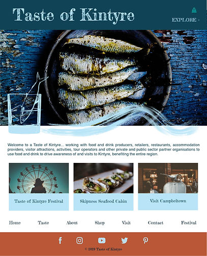 "Design for a tourism website called Taste of Kintyre showing photos and text on teal, blue and burnt orange coloured backgrounds.  The images are of local food and attractions, overlaid with the brand's signature ""fish in a glass"" and wave illustrations."