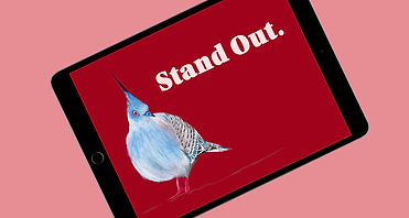 """Bold graphic design of a  blue crested dove next to the phrase """"stand out"""" in white lettering on a rich red background. The image is displayed on a tablet screen hovering above a dusty pink background."""