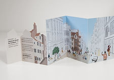 Folding flyer advertising the literary quarter project by the City of Literature Edinburgh. The flyer has a cut out shape which is an illustration of John Knox House, opening out to reveal the contents. Inside is a street scene illustration with John Knox House at the centre, surrounded by people exploring the future literary quarter.