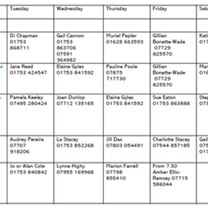 Updated Rota from Rev La Stacey