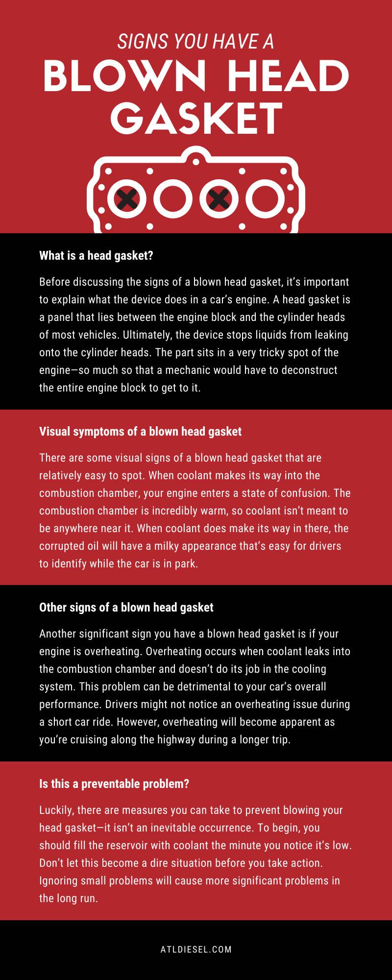 Blown Head Gasket Infographic