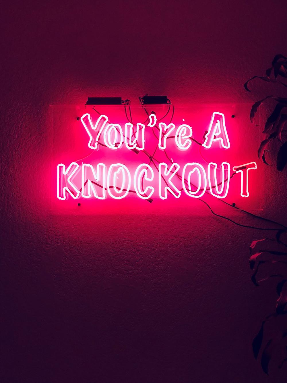 Knockout LA Self Discovery Studio, Los Angeles workout studio,  workout neon sign, neon pink sign