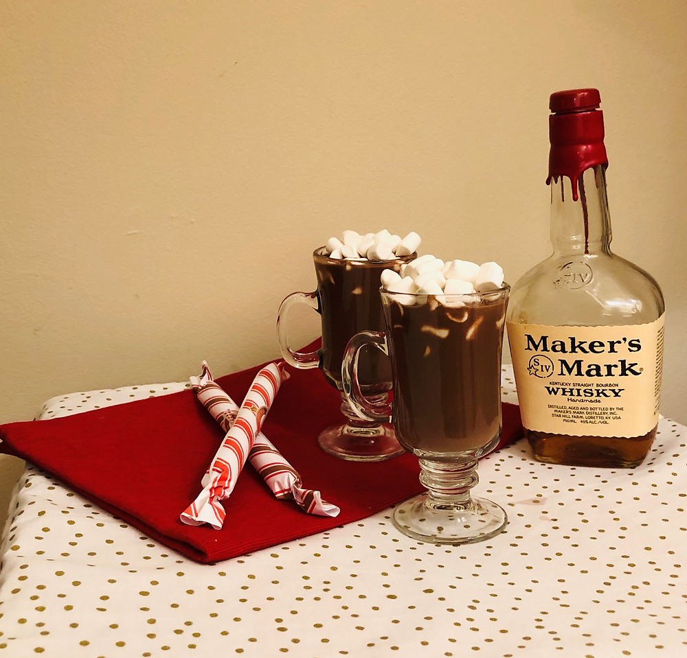 Bourbon hot chocolate, hot chocolate with marshmallows, Makers Mark Whiskey, whiskey hot chocolate mug