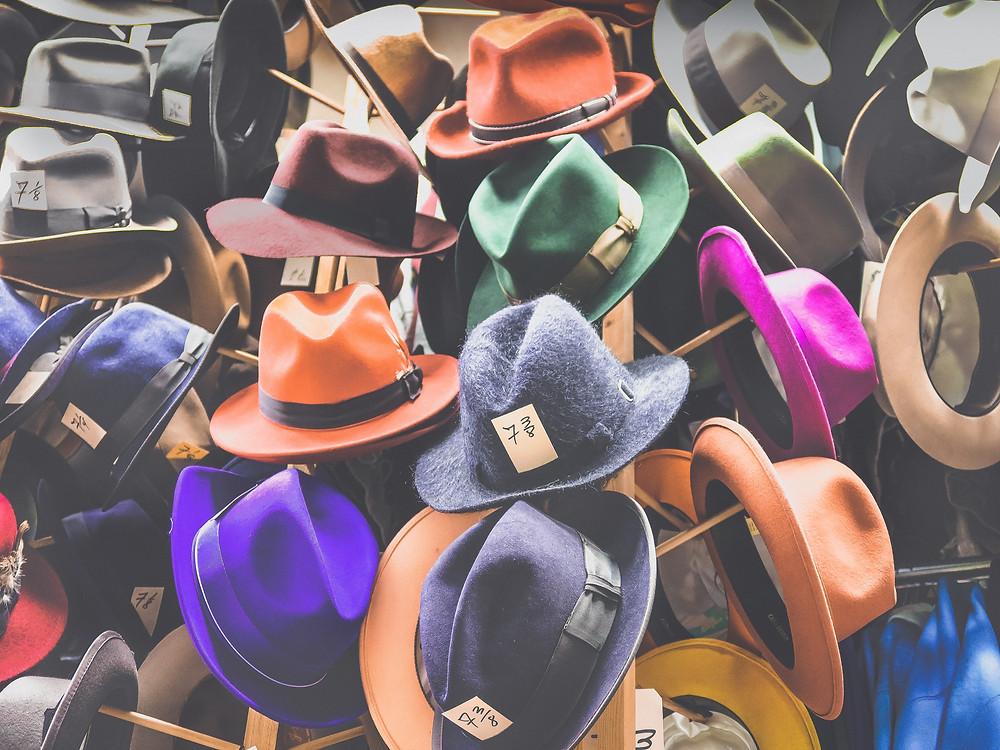 hats, fedoras, colorful hats, felt hats, rain hats