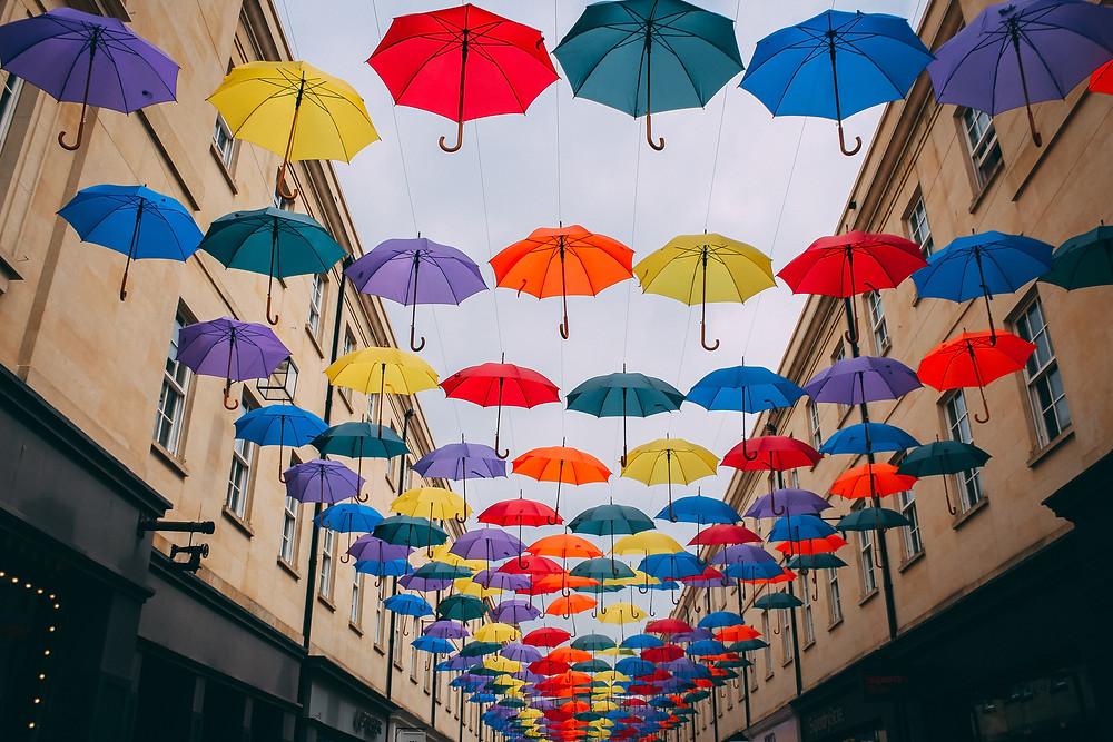 umbrellas, color umbrellas, rain, many umbrellas