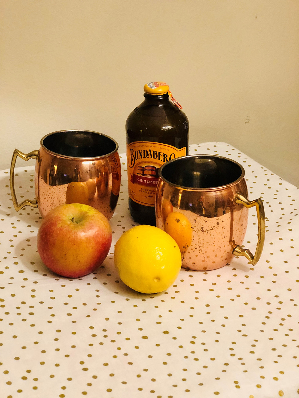 apple ginger mocktail, apple ginger Moscow mule, apples and lemons and Bundaberg ginger beer