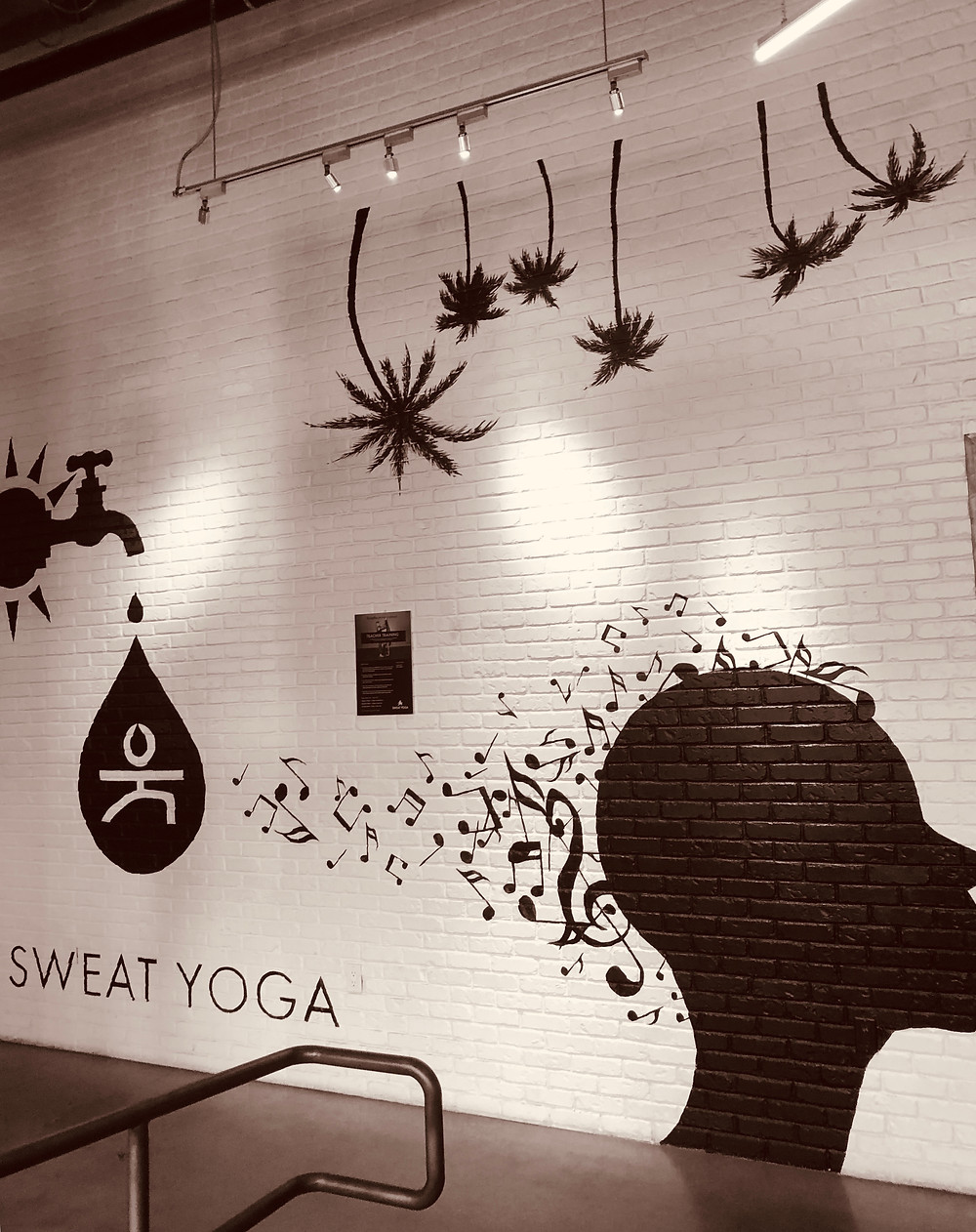 Sweatyoga studio Santa Monica, Los Angeles yoga studio, Sweat Yoga graffiti wall