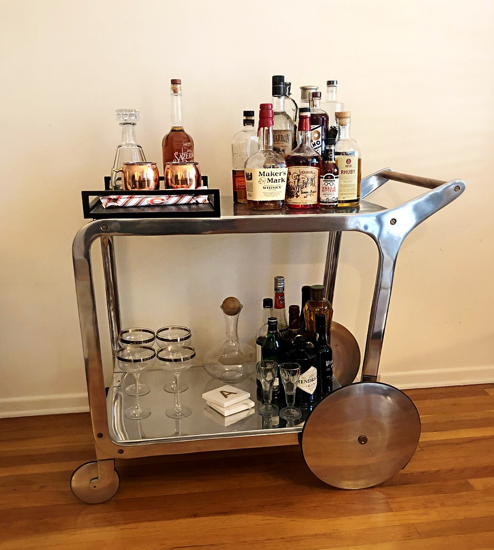 bar cart, holiday bar cart, alcohol bar cart, home bar cart