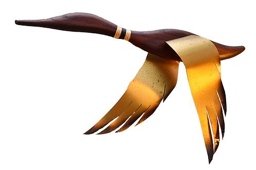 Pair Mid Century Masketeers Flying Geese Wood/Brass Wall Art