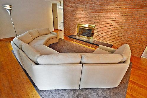 Mid Century Milo Baughman Inspired Circular 4pc Sectional Sofa