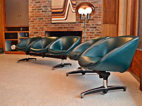 Pair of Mid Century Saucer Chair Benches