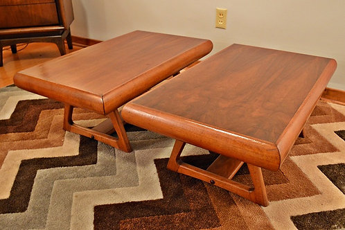 Pair of Danish Mid Century Low Profile End Tables