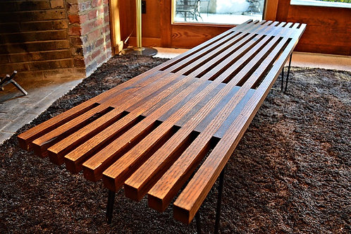 Authentic 1960's Mid Century Rustic Look Slat Bench - 6ft Long!