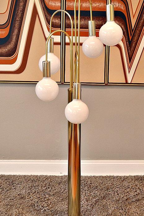 Mid Century Sonneman Style Waterfall Ball Floor Lamp