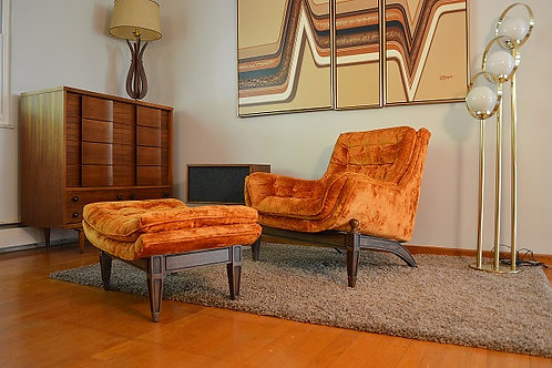 Mid Century Crushed Orange Velvet Lounge Chair & Ottoman