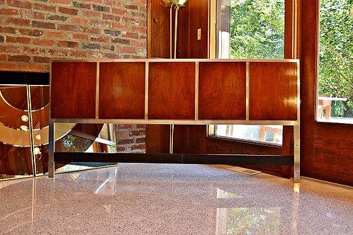 Mid Century Milo Baughman Style Rosewood and Chrome King Headboard