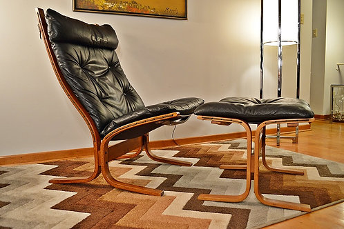 Mid Century Westnofa Leather/Rosewood Siesta High Back Lounge Chair & Ottoman