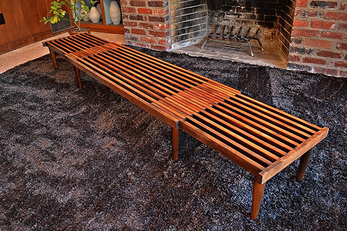 Authentic 1960's Mid Century Vintage Expandable Slat Bench / Coffee Table - 8ft