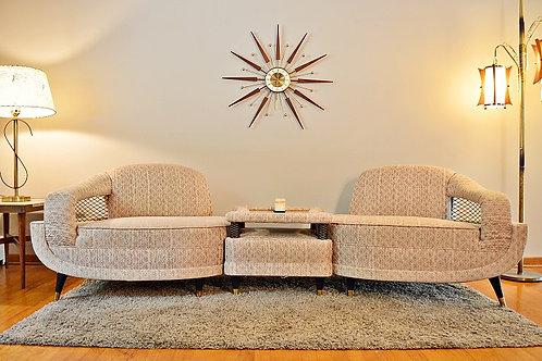 Mid Century Atomic Era Jetson's Style 3pc Sectional Sofa