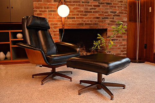 Mid Century Mr Chair by Mulhauser Lounge Chair and Ottoman