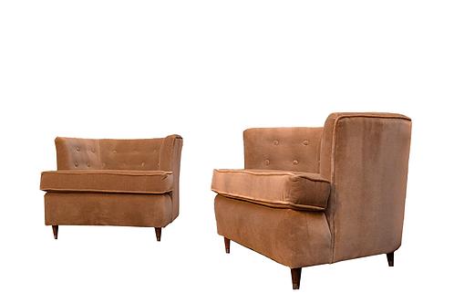 Pair of Mid Century Velvet Petite Barrel Chairs