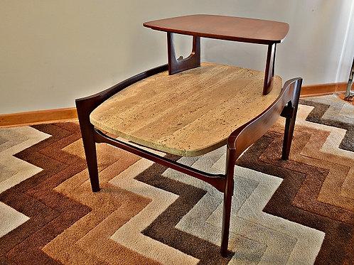 Mid Century Bertha Schaefer Style Floating Travertine Marble & Walnut End Table