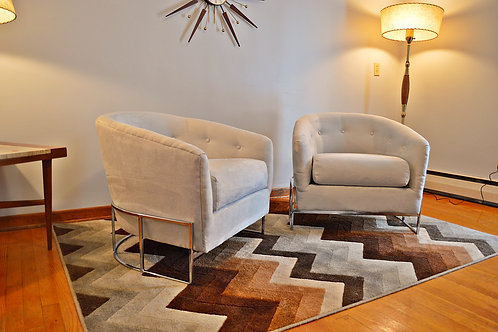 Pair of Mid Century Milo Baughman for Carsons Chrome Lounge Chairs
