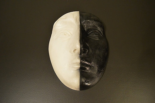 Large Plaster Black/White Face Wall Art Sculpture