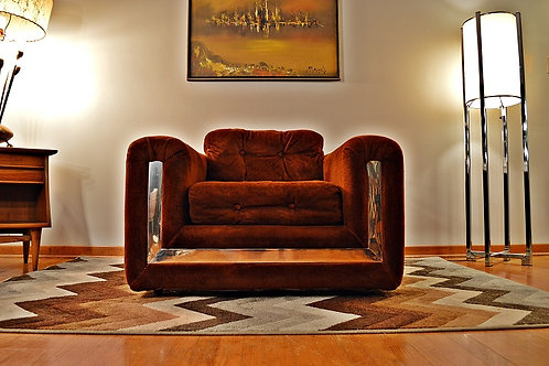 1970's Velvet & Chrome Low Profile Club Chair/Lounge Chair