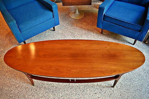 Mid Century Oval Danish Style Coffee Table