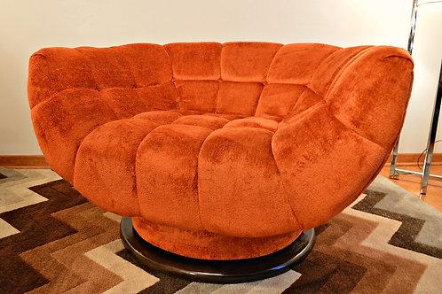 Mid Century Adrian Pearsall Crushed Velvet Swivel Lounge Chair