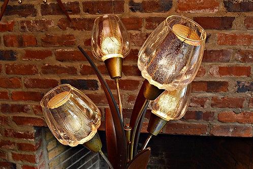 Mid Century Danish Style Large Wood Leaf Flower Lamp