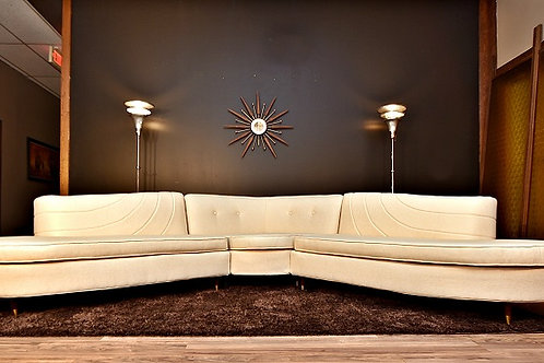 Stunning Fully Restored Custom Mid Century 3pc Sofa Sectional - 1950's