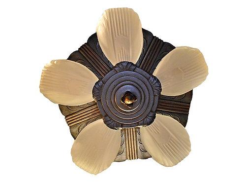 Georgous Art Deco 5 Light Slip Shade Chandelier / Ceiling Light