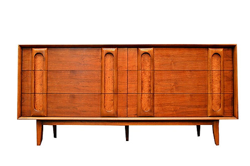 Mid Century Walnut and Burlwood Dresser / Credenza by Lane