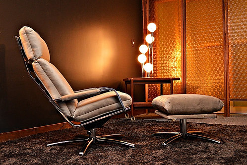 Mid Century Thayer Coggin Chrome Reclining Lounge Chair and Ottoman