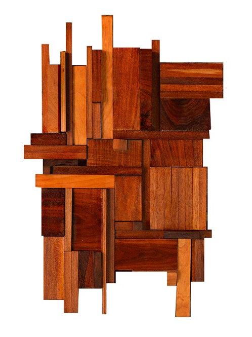 Mid Century Brutalist Wood Wall Sculpture