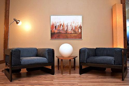 Pair of Italian 1970's Low Profile Lounge Chairs by Raimondo / Scarpa