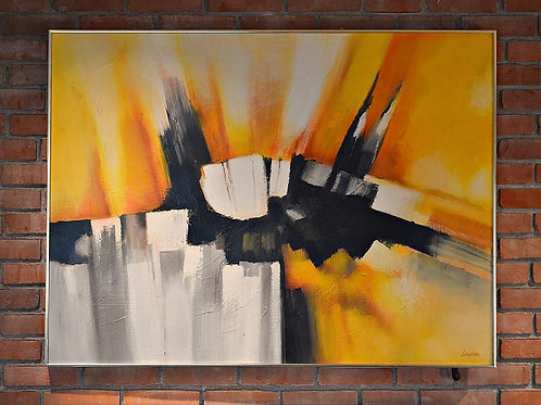 Mid Century Large Original Signed Abstract Oil Painting by Robert Lawson
