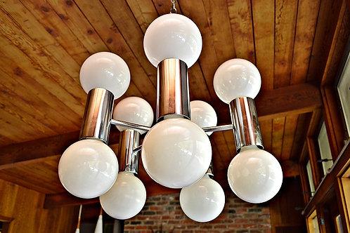 Mid Century Sonneman Chrome Hanging Swag Lamp