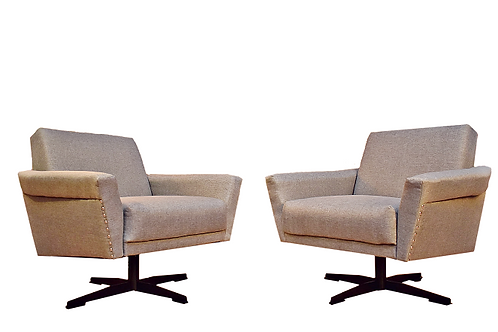 Pair Mid Century Space Age Swivel Lounge Chairs in the Style of Johannes Spalt